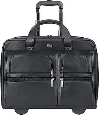 SOLO® Rolling Leather Laptop Case, Black, 15.6