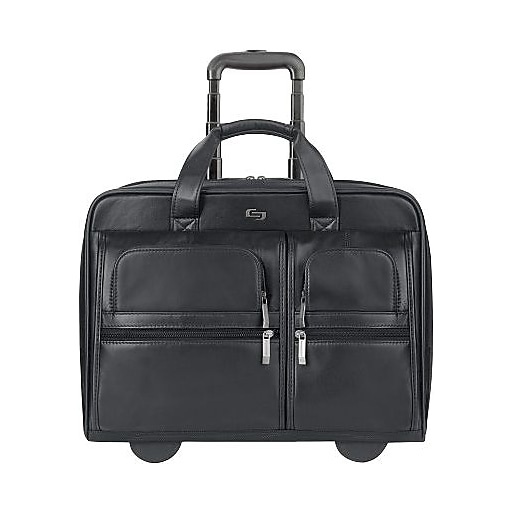 Solo Rolling Leather Laptop Case Black 15 6