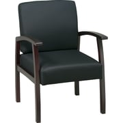 Office Star Black Fabric with Mahogany Finish Wood Guest Chair