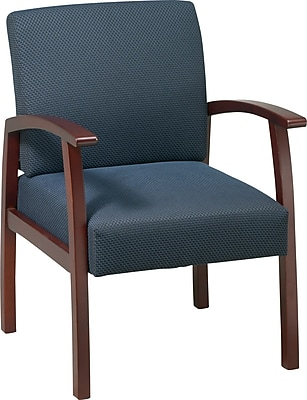 Office Star Blue Fabric with Cherry Finish Wood Guest Chair