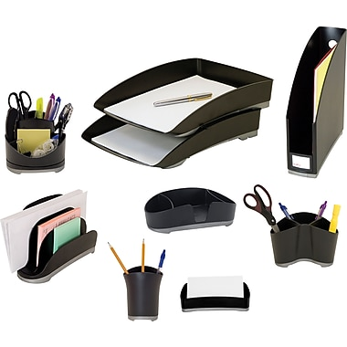 Storex Black Plastic Desk Collection, (Recycled)