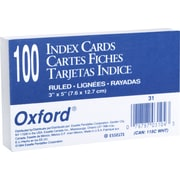 "Staples Oxford 3"" x 5"" Index Cards, Ruled, White, 100/Pack (31)"