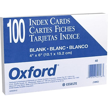 "Oxford 4"" x 6"" Unruled White Index Cards 100 Pack"