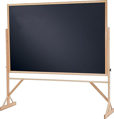 Quartet® Reversible Easel - Black Chalkboard, Oak Finish Hardwood Frame, 6'W x 4'H