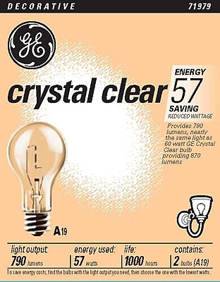 57 Watt GE A-19 Longer-Life Incandescent Bulbs, Clear, 2/Pack