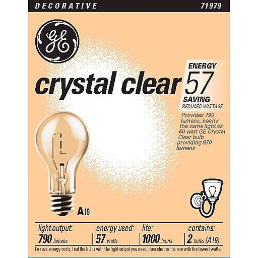 57 Watt Ge A 19 Longer Life Incandescent Bulbs Clear 2 Pack