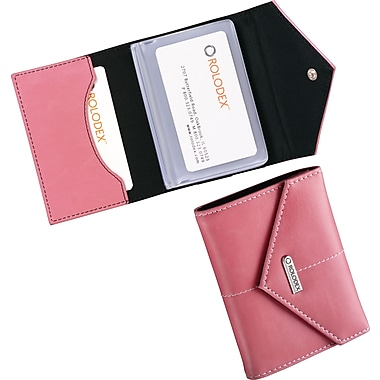 Rolodex® Pink Ribbon 36-Card Faux Leather Personal Card Case