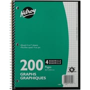 Hilroy - Cahier de notes, quadrillé 4:1, 10-1/2 po x 8 po, variés, 200 pages