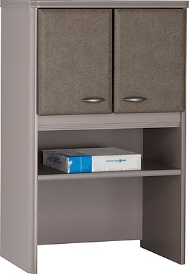 Bush Business Cubix 24W Hutch, Pewter/White Spectrum