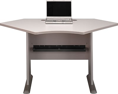 Bush Business Cubix 42W Corner Desk, Pewter/White Spectrum, Installed