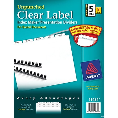 Avery® Index Maker Clear Label Tab Dividers, 5-Tab Unpunched, White, 5 Sets/Pack