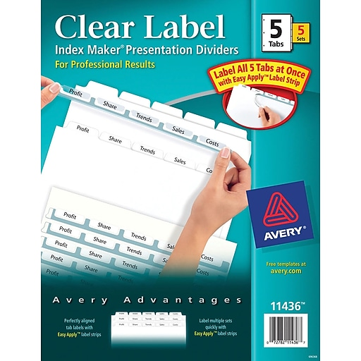Avery Index Maker Clear Label Tab Dividers 5 Tab White 5 Sets
