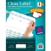 Avery® Index Maker Clear Label Tab Dividers, 3-Tab, White, 25 Sets/Pack