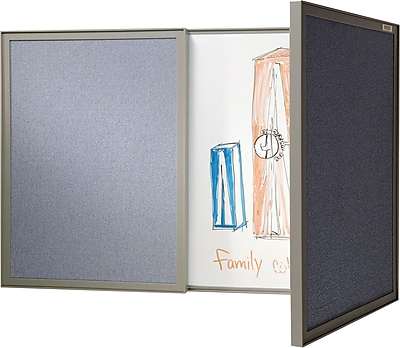 Ghent VisuALL PC Whiteboard Cabinet with Fabric Bulletin Board Exterior Doors, Gray