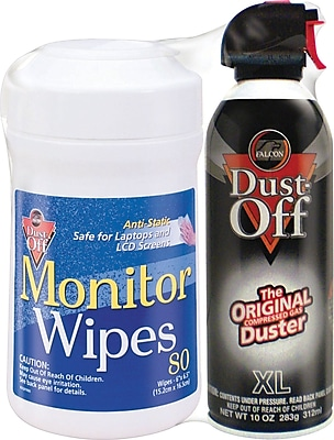 Falcon Dust-Off Monitor Wipes and Duster Combo