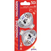 Globe GU5.3 50W Halogen Light Bulbs, 2/Pack