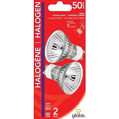 Globe GU10 50W Halogen Light Bulbs, Clear, 2/Pack