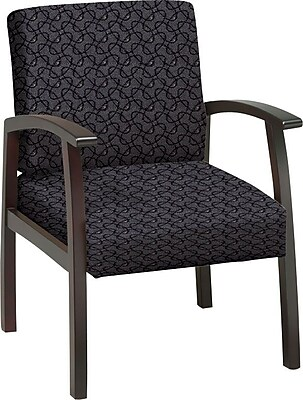 Office Star Custom Mahogany Finish Wood Guest Chair, Ash