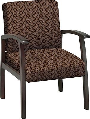 Office Star Custom Mahogany Finish Wood Guest Chair, Nugget