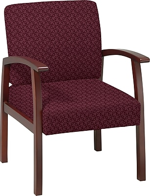 Office Star Custom Cherry Finish Wood Guest Chair, Inferno