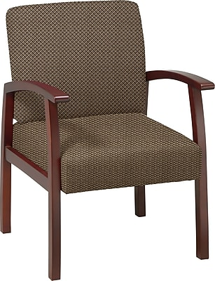 Office Star Custom Cherry Finish Wood Guest Chair, Gold Dust