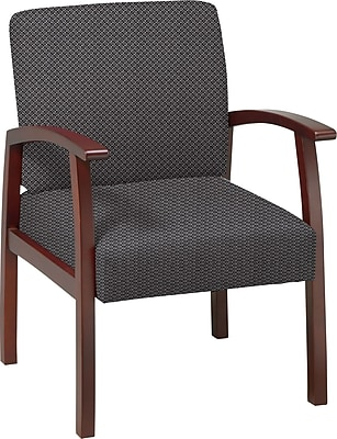 Office Star Custom Cherry Finish Wood Guest Chair, Shale