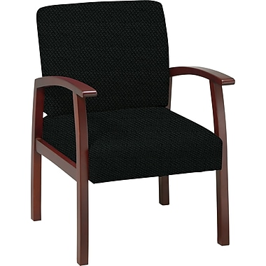 Office Star™ Custom Cherry Finish Wood Guest Chair, Jet