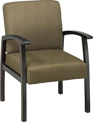 Office Star Custom Espresso Finish Wood Guest Chair, Gold Dust