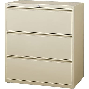 Hirsh HL10000 Series Lateral File Cabinet, 3-Drawer, Putty