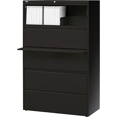 Hirsh HL10000 Series Lateral File Cabinet, 5-Drawer, Black