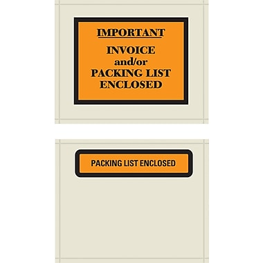 Packing List Envelopes, English Panel Style, Packing List Enclosed, Orange/Black, 4-1/2