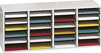 """""Safco Adjustable Wood Literature Organizer, 24 Compartment, 39 1/4"""""""" x 11 3/4"""""""" x 16 1/4"""""""", Gray"""""" 493608"