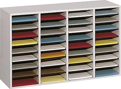 Safco® 36 Compartment Wood Adjustable Literature Organizer, Gray (9424GR)