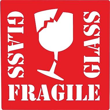 Étiquettes de manutention « Fragile/Glass », 4 po x 4 po, 500/rouleau