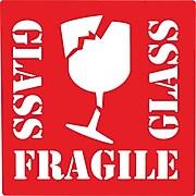 "Fragile Glass Label, 04"" x 04"", 500/Roll (DL1282)"