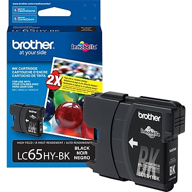 Brother LC65 Black Ink Cartridge, High Yield (LC65HYBKS)
