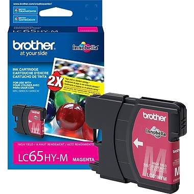 Brother LC65 Magenta Ink Cartridge, High Yield (LC65HYMS)