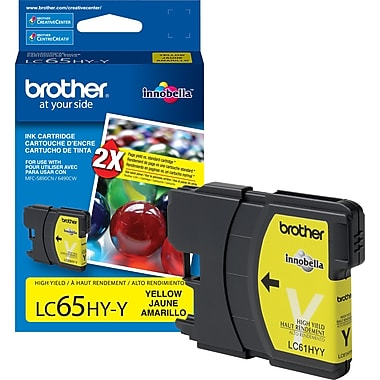 Brother LC65 Yellow Ink Cartridge, High Yield (LC65HYYS)