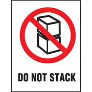 """""""Do Not Stack"""" Label, 3"""" x 4"""", White, Black and Red"""