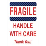 """Staples Fragile, Handle with Care, Thank You! Label, 04""""H x 06""""W 500/Roll (#DL1560)"""