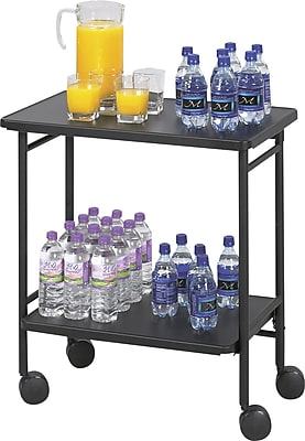 """""Safco Folding Office/Beverage Cart, 2 Shelf, 30""""""""(H) x 26""""""""(W) x 15""""""""(D), Black"""""" 744195"
