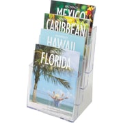 Deflecto® 77441 Tiered Literature Holder Magazine Size, Clear, 4 Pockets