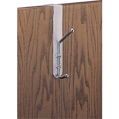 Safco® Double Coat Hook, Over the Door, Aluminum/Chrome