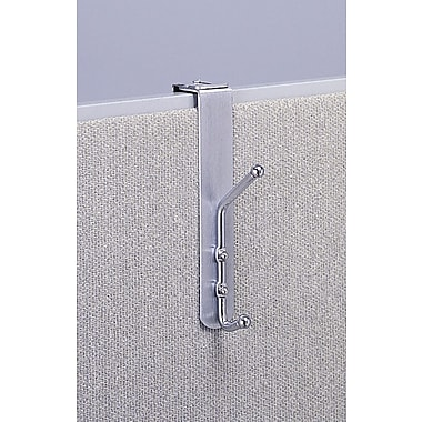 Safco® Double Coat Hook, Over the Cubicle Panel, Aluminum/Chrome