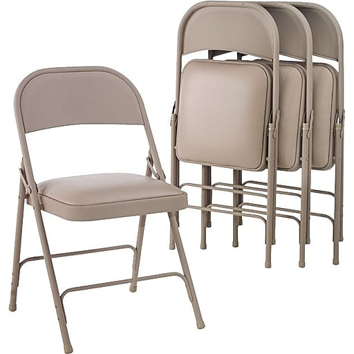 Amazing Alera Folding Chair With Padded Seat Fabric Steel Tan Seat 15 3 4W X 15 1 2D Back 18W X 13 1 2H 4 Ct Theyellowbook Wood Chair Design Ideas Theyellowbookinfo
