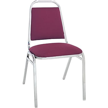 Alera® Continental Acrylic Square-Back Stacking Chairs, Burgundy, 4/Pack