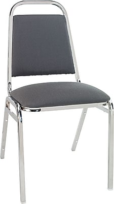 Alera® Continental Acrylic Square-Back Stacking Chairs, Gray, 4/Pack