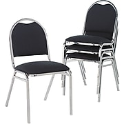 Alera® Continental Acrylic Round-Back Stacking Chairs, Black, 4/Pack