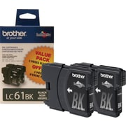 Brother LC61BK Black Ink Cartridges, 2/Pack