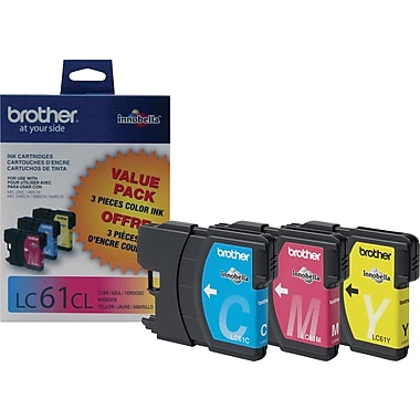 Brother LC61CL Color Ink Cartridges, 3/Pack